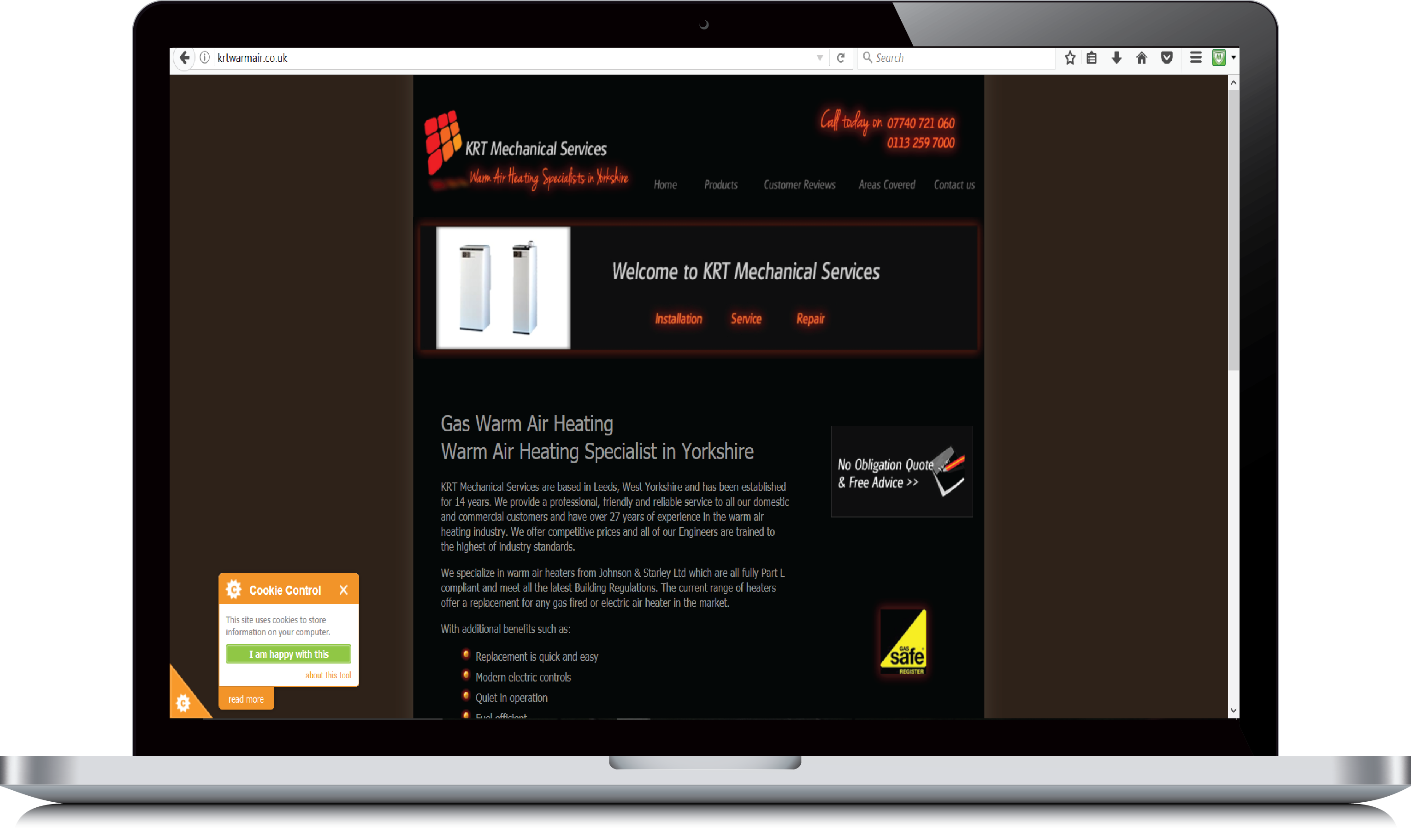 KRT Mechanical Services website example view