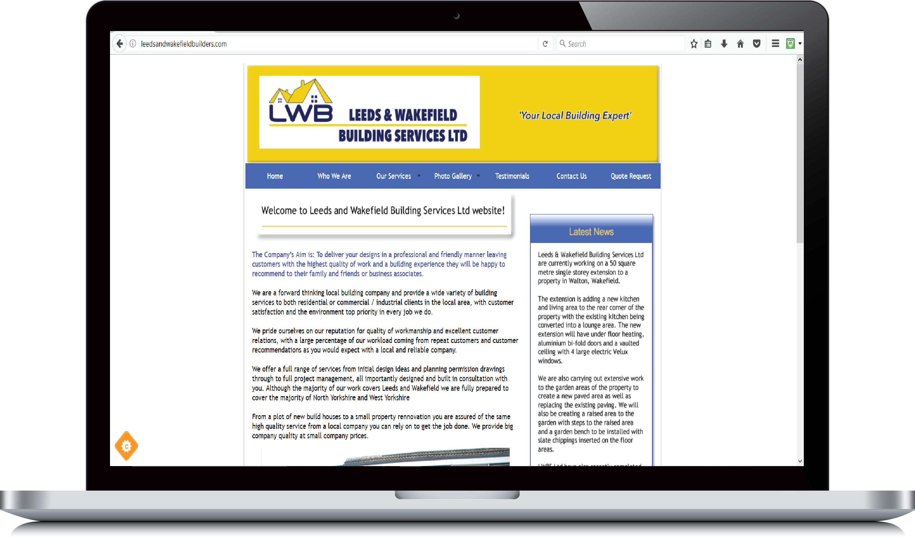 Leeds and Wakefield Builders website example view