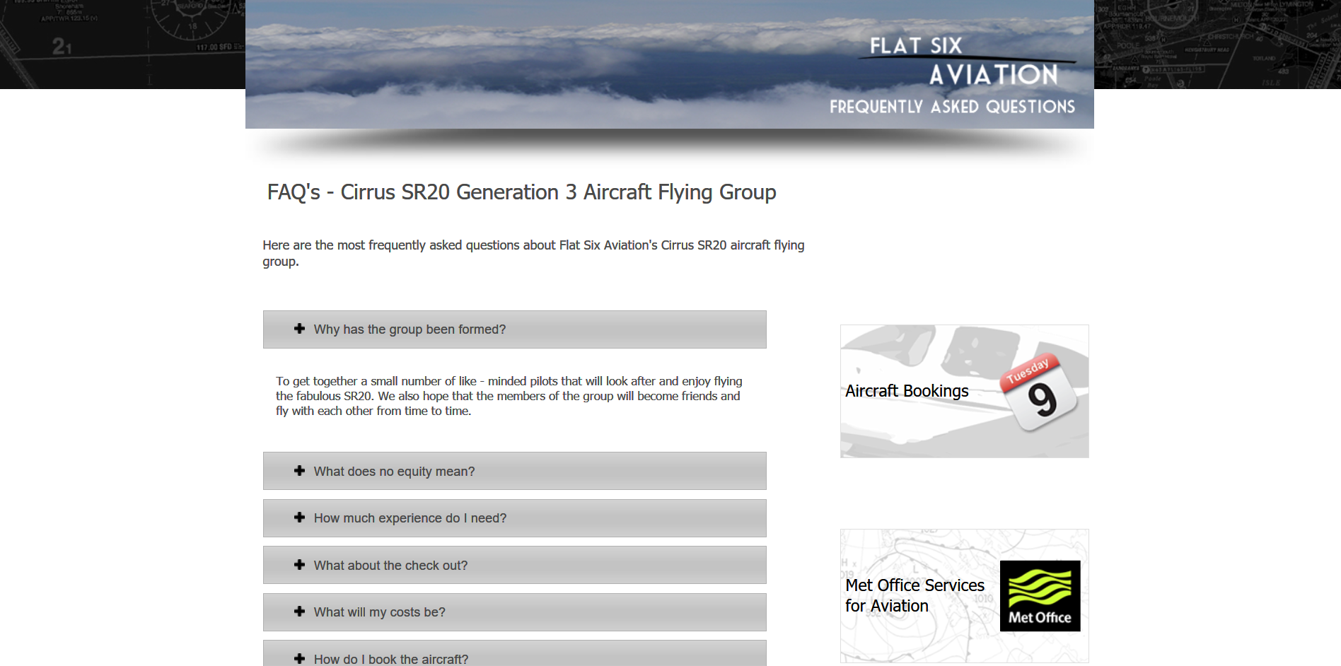 Sample of the design work on the Flat Six Aviation website