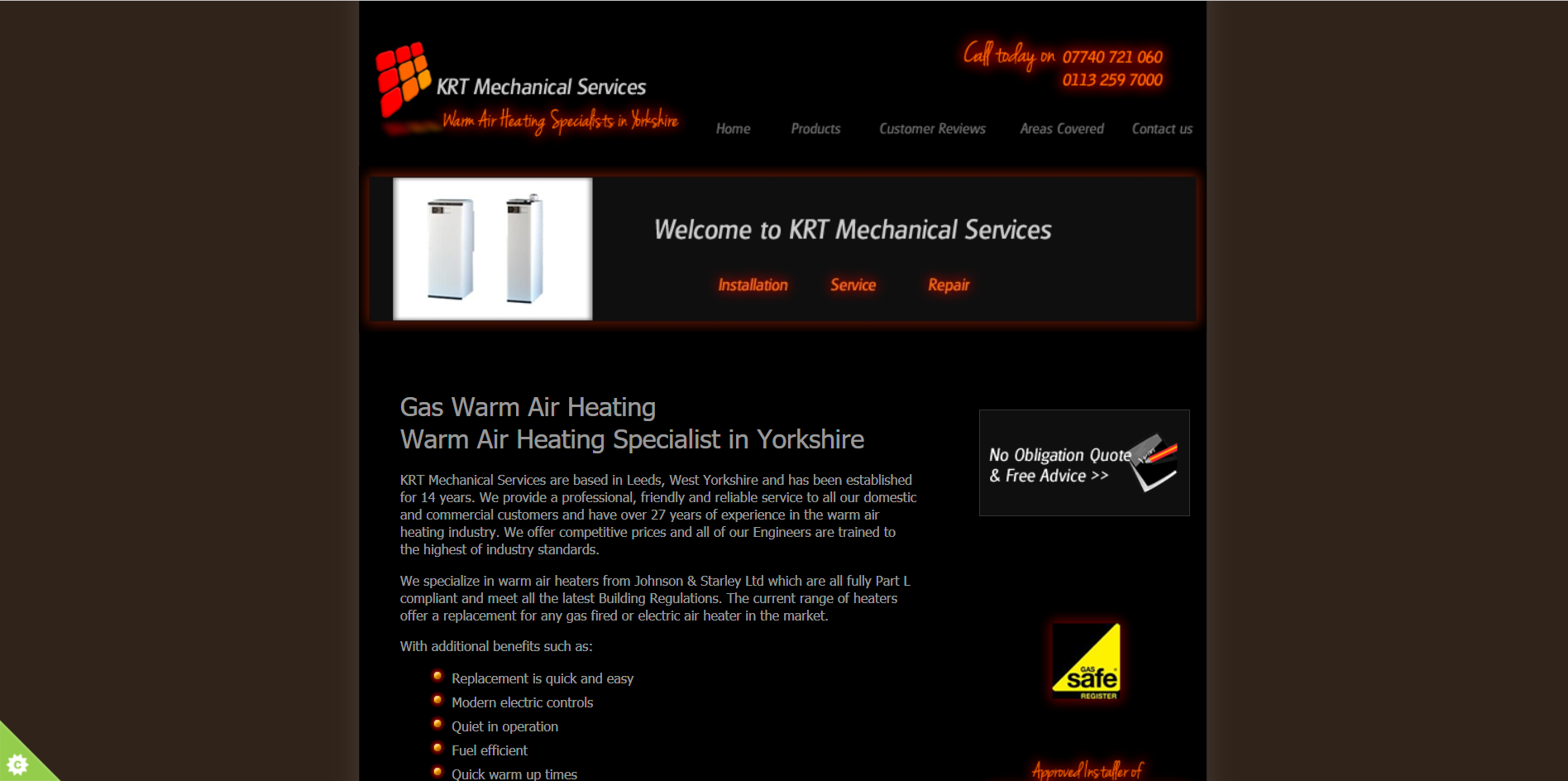 Sample of the design work on the KRT Mechanical Services website