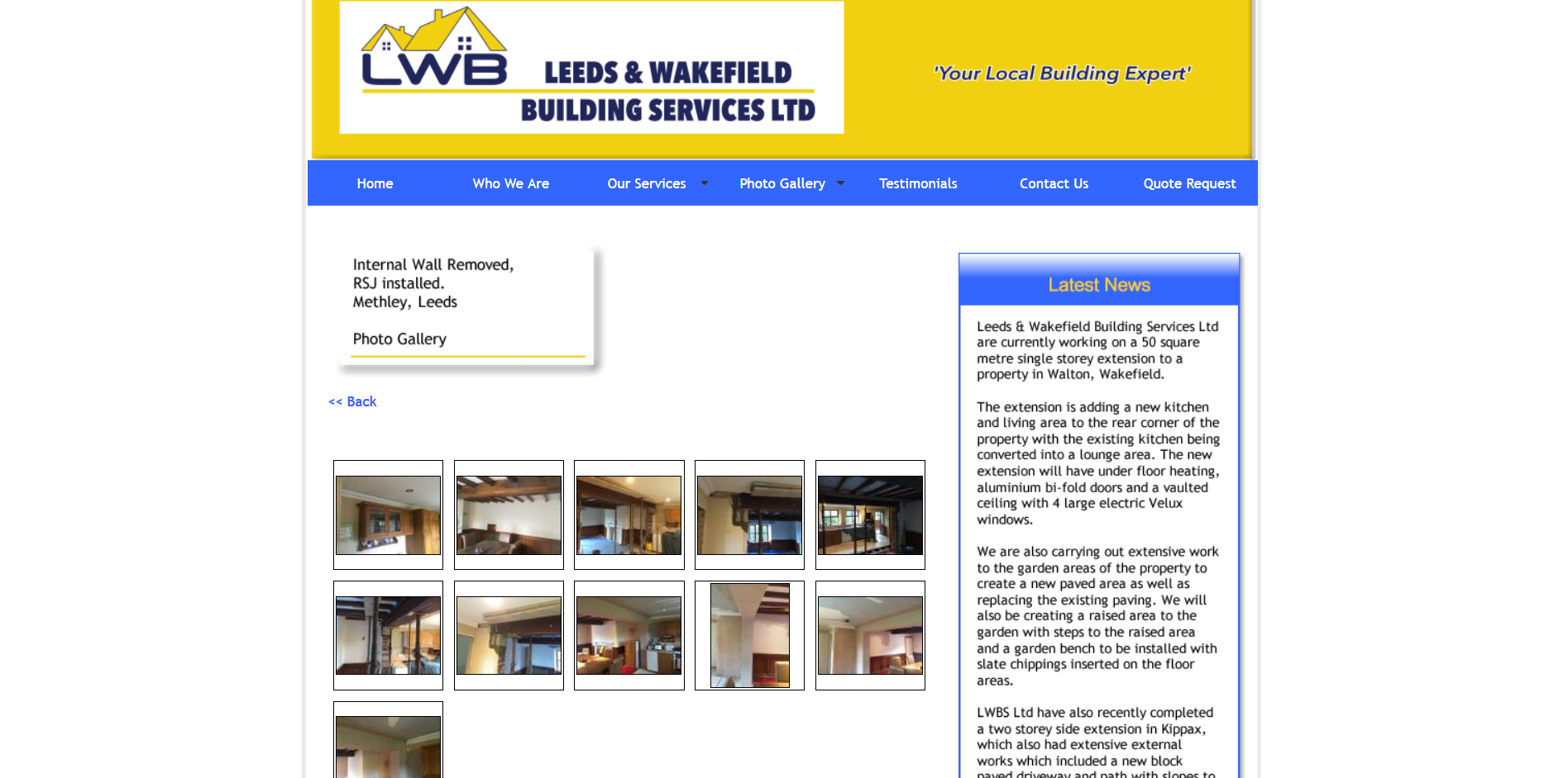 Sample of the design work on the Leeds and Wakefield Builders website
