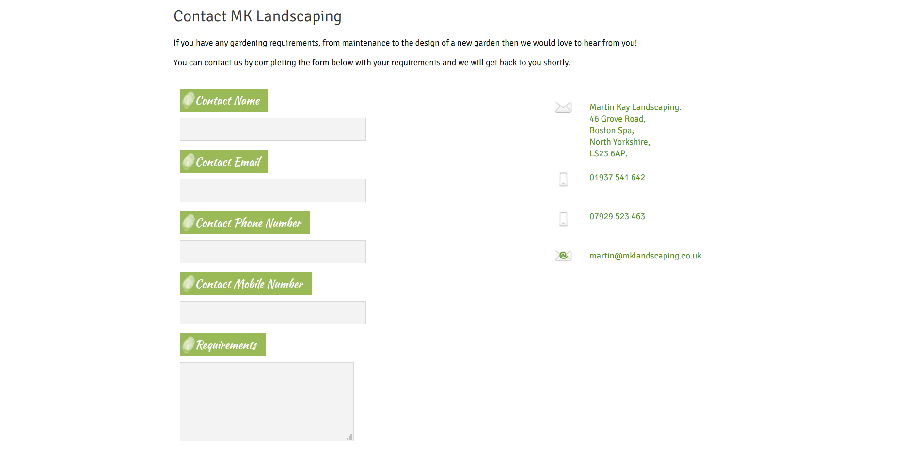 Sample of the design work on the Martin Kay Landscaping website